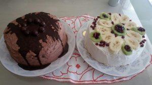 Muzlu  ve çikolatalı yaş pasta